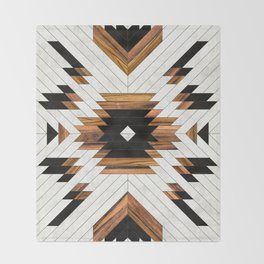 Urban Tribal Pattern 5 - Aztec - Concrete and Wood Throw Blanket