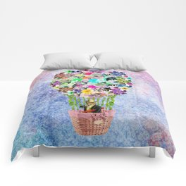 Teal Pink Vintage whimsical cat floral Air balloon Comforters