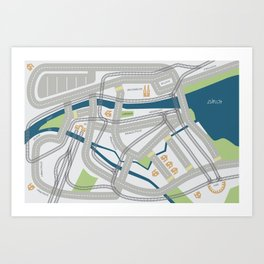 The Streets of Zurich Art Print