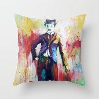 charlie chaplin Throw Pillows featuring Charlie Chaplin by Marta Zawadzka