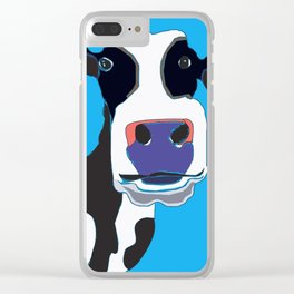 Cow in the Blue Sky Clear iPhone Case