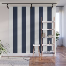 Yankees blue - solid color - white vertical lines pattern Wall Mural