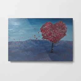 Lavender fields, Love Tree, oil painting by Luna Smith, LuArt Gallery Metal Print
