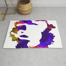 White Horse Galloping Through Color Bomb Rug