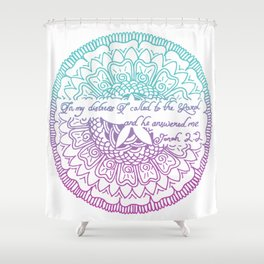 Equanimity / Jonah 2:2 / Pink Blue Shower Curtain