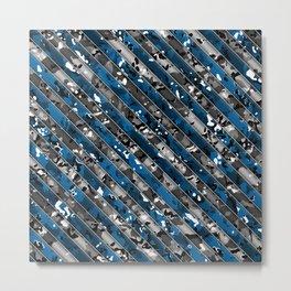 Blue and Grey Striped Multicamo Metal Print