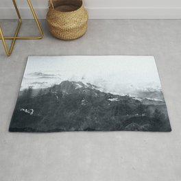 Nature abstract landscape black and white Rug