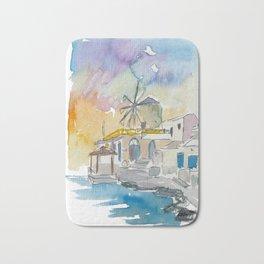 Santorini Therassia Lonely Island in Greece Bath Mat