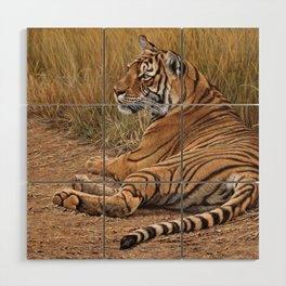 Ranthamboure Roadblock Tiger by Alan M Hunt Wood Wall Art