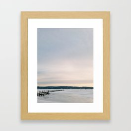 Sunset over Frozen Lake Framed Art Print