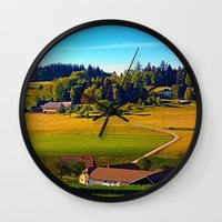 farm Wall Clocks featuring From farm to farm by Patrick Jobst
