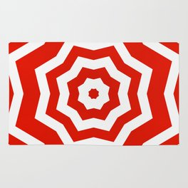 Red and white abstract star pattern Rug