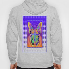 Modern Butterfly on Purple and  & Orange Optical Art Patterns Hoody