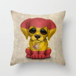 Cute Puppy Dog with flag of Spain Throw Pillow