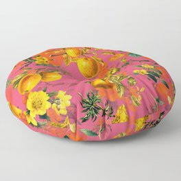 Vintage & Shabby Chic - Summer Golden Apples Pink Flowers Garden Floor Pillow