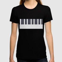 Piano Keys - Black and white simple piano keys pattern minimalistic music themed artwork T-shirt