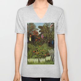 Exotic Jungle Landscape with Monkeys and Birds by Henri Rousseau Unisex V-Neck