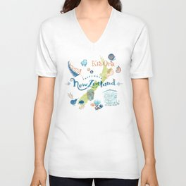 Drawings from New Zealand Unisex V-Neck