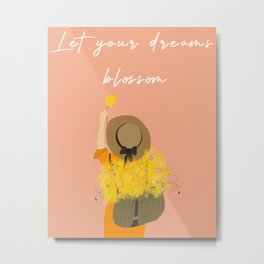 Set Store MarkupsAdd New Artwork Yellow flower girl/ spring girl/ yellow flower and girl / let your dreams blossom/ motivation quote for girl/ Metal Print
