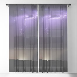 Summer Lightning Storm On The Prairie XVI - Nature Landscape Sheer Curtain