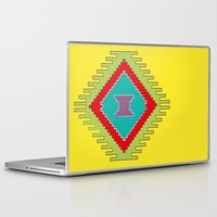 kilim Laptop & iPad Skins featuring Persian Kilim - Yellow Background by Katayoon Photography