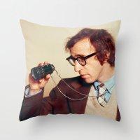 woody allen Throw Pillows featuring WOODY ALLEN by VAGABOND