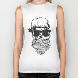 skull with beard Biker Tank