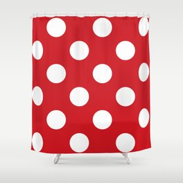 Large Polka Dots - White on Fire Engine Red Shower Curtain