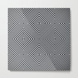 Minimal Geometrical Optical Illusion Style Pattern in Black & White Metal Print