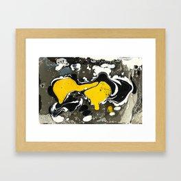 Marble Ink Yellow Black White Framed Art Print