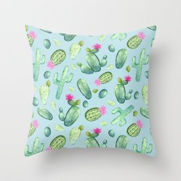 Green Cactus with Pink Bloom | Watercolor Cacti on Cyan Background Throw Pillow