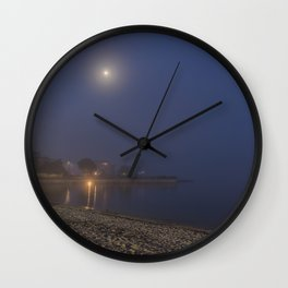 Moon cutting though the fog at Pavilion Beach in Gloucester Wall Clock