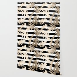 Simply Tropical Palm Leaves on Stripes Wallpaper