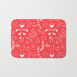 Doodle Christmas pattern red Bath Mat