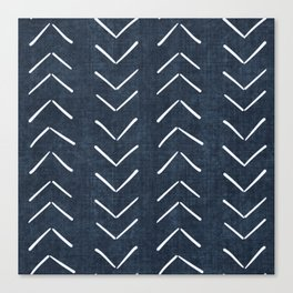 Mud Cloth Big Arrows in Navy Canvas Print