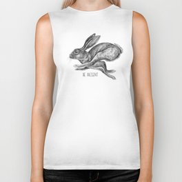 Animal Art | Hare and Quote by Magda Opoka | Animals | Black and White | black-and-white | bw Biker Tank