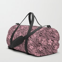 Pink floral pattern on a tiger background. Duffle Bag