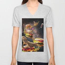 Galaxy Bearded Dragon On Burger - Space Cheeseburger Lizard Unisex V-Neck