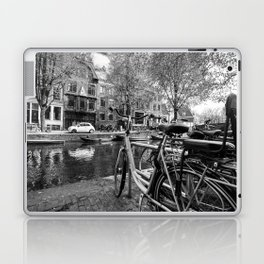Bicycles and boats along Amsterdam canal Laptop & iPad Skin