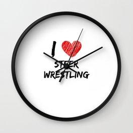 I Love Steer Wrestling Wall Clock