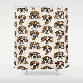 No Evil English Bulldog Shower Curtain