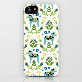 Swedish Dala Horses Teal iPhone Case