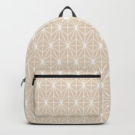 Geometric Abstract Pattern (Almond/White) Backpack