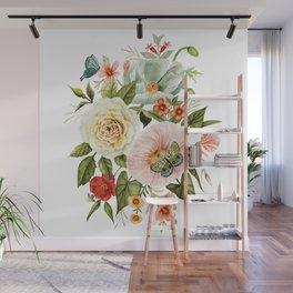 Wildflowers and Butterflies Bouquet  Wall Mural