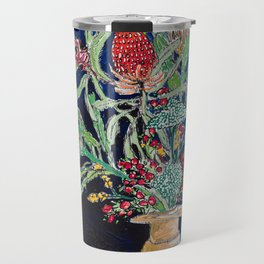 Yellow and Red Australian Wildflower Bouquet in Pottery Vase on Navy, Original Still Life Painting Travel Mug