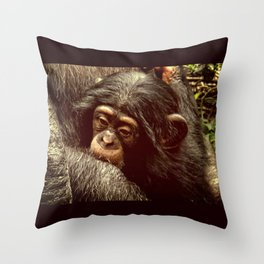 Baby Chimpanzee Cuddling Close to Mom with Vintage Look Throw Pillow