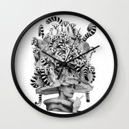 Her Ring-tailed Lemur Hat Wall Clock