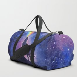 Galaxy Wolf Howling Rainbow Duffle Bag
