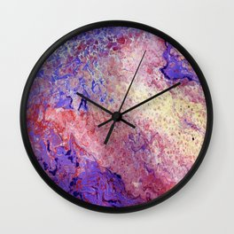 Purple and Red Cosmos Wall Clock