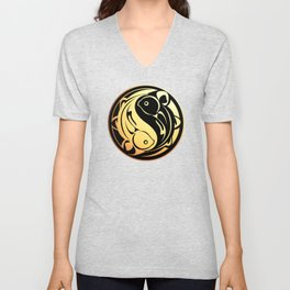 Yin Yang Fish:  Gold on Black Unisex V-Neck